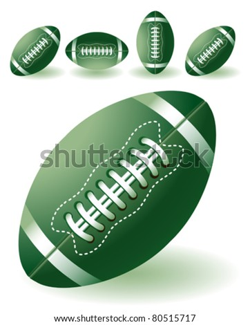isolated  green american footballs on the white background