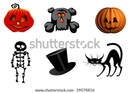 Isolated halloween icons and symbols for design - for emblems. Jpeg version also available