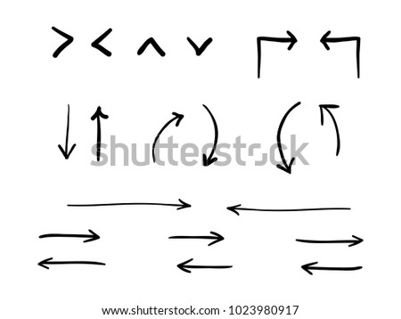 isolated hand drawn arrows symbol set flat icon vector design childish lines art