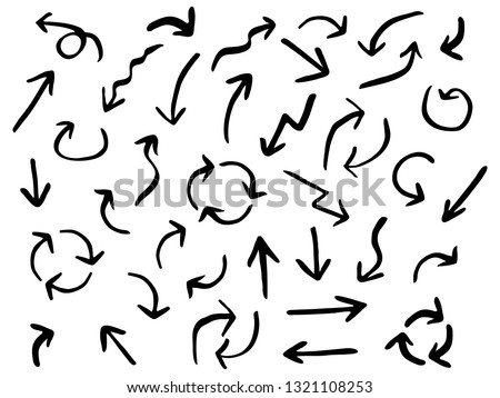 Isolated hand drawn set of black arrows on white background. Collection arrow design templates. Vector illustration. #1321108253
