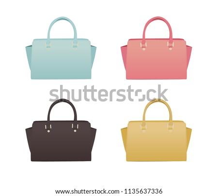 Isolated Handbags. Summer Handbags. Illustration of Handbags.