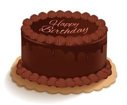 Isolated happy birthday chocolate cake on white background. Vector illustration.