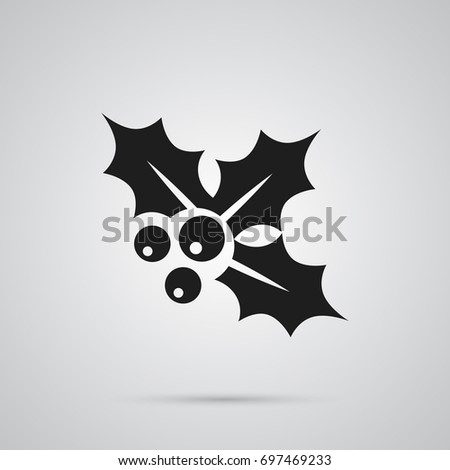 Isolated Holly Icon Symbol On Clean Background. Vector Ilex Element In Trendy Style.