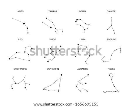 Isolated horoscope signs. Set Zodiac constellation. Aries taurus gemini cancer leo virgo libra scorpio pisces. Vector illustration EPS10