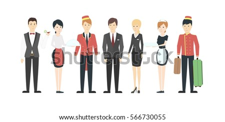 Isolated hotel staff on white background. All kinds of staff like porters, waitress, maids and receptionists. People in uniform.