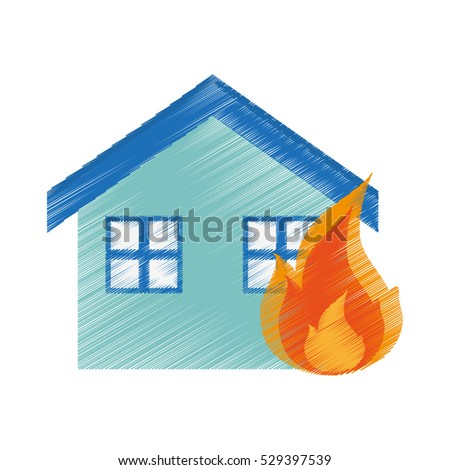 isolated house on fire design