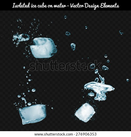 isolated ice cube dropped on
