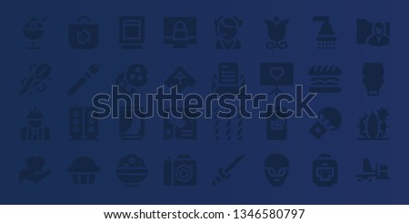 isolated icon set. 32 filled isolated icons. on blue background style Collection Of - Ice cream, Needle, Worker, Hand, Bag, Makeup, Speakers, Cupcake, Book, Cookie, Can, Rice