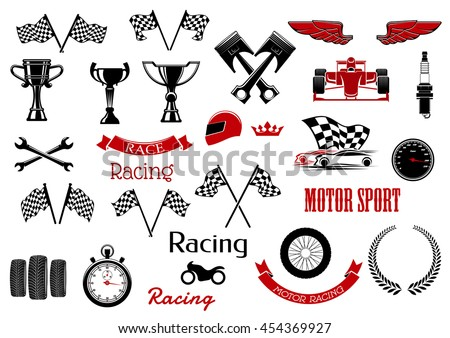 isolated icons for motosport