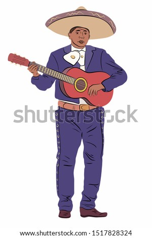 isolated illustration of a mexican guitarist playing, colored vector drawing, white background