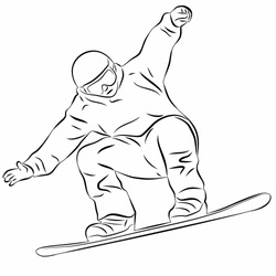 isolated illustration of a  snowboarder , black and white drawing, white background