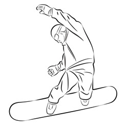 isolated illustration of a snowboarder, black and white drawing, white background