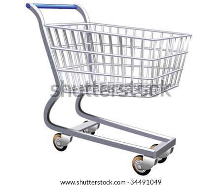 Isolated illustration of a stylized shopping cart