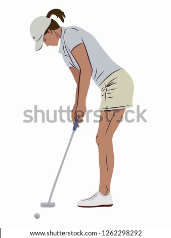 isolated illustration of a woman playing golf, colored drawing, white background