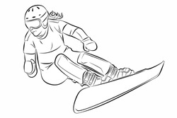 isolated illustration of a woman snowboarder , black and white drawing, white background