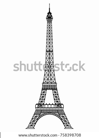 isolated illustration of an eiffel tower , black and white drawing, white background