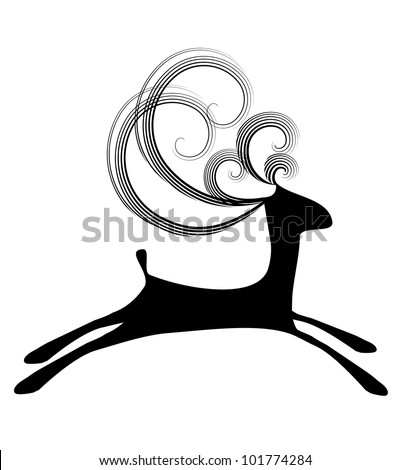 Isolated illustration of black jumping deer with curly horns on the white background
