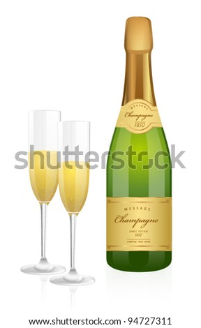 Isolated illustration of Bottle of champagne (bubbly, fizz) and two glasses. Vector for Christmas time, New Year, Birthday party, corporate party. Any celebration, holidays events