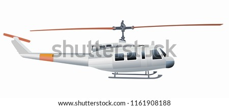 isolated illustration of helicopter. colored drawing, white background