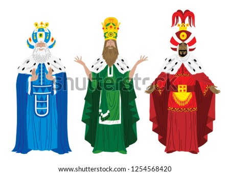 Isolated illustration of the three wizard kings Melchior, Caspar and Balthazar.