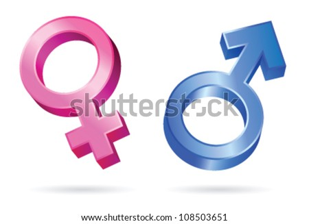 Isolated illustrations of male and female gender symbols - stock vector