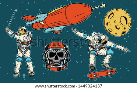 Isolated illustrations set of the spaceship, the astronaut playing golf, the astronaut skull in the helmet and the astronaut on the skateboard. Color illustration on space background.