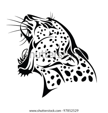 Isolated jaguar head - vector illustration