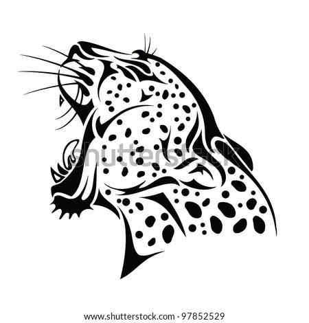 Isolated jaguar head - vector illustration