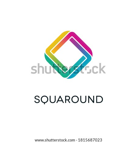 Isolated letter o symbol with rainbow colors in twisted diamond shape. Three dimensional alphabet logo design. Foto stock ©