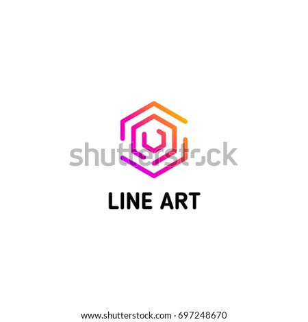 Isolated line art logo template. Abstract linear logotype. Colorful geometric icon. Outline innovate design elements. Vector simple futuristic sign. Hexagon shapes of lines.