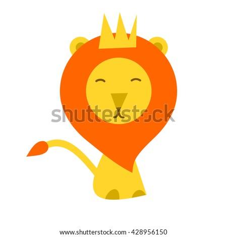 isolated lion cartoon flat