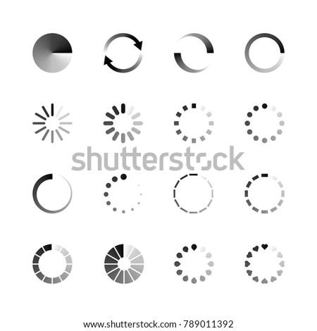 Isolated loading icon set on white background, vector illustration.