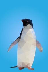 Isolated low poly penguin on a blue background