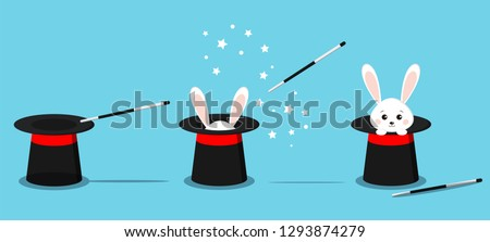 Isolated magician's black hat, magic hat with bunny ears, white rabbit in hat with magic wand in action and stars.  Vector flat illustration in cartoon style.