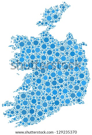 Isolated map of Ireland - Europe - in a mosaic of blue circles. A number of 2685 little bubbles are accurately inserted into the mosaic. White background.