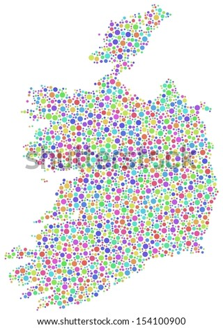 Isolated map of Ireland - Europe - in a mosaic of harlequin circles. White background