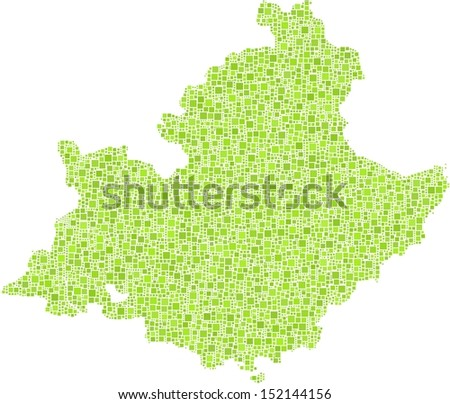 Isolated map of the C�´te d'Azur - France - in a mosaic of green squares