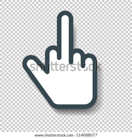 Isolated Middle Finger Hand Cursor Icon. Vector illustration with shadow