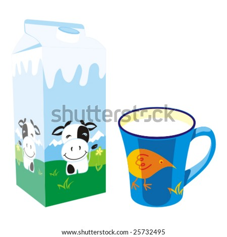 isolated milk carton box and mug