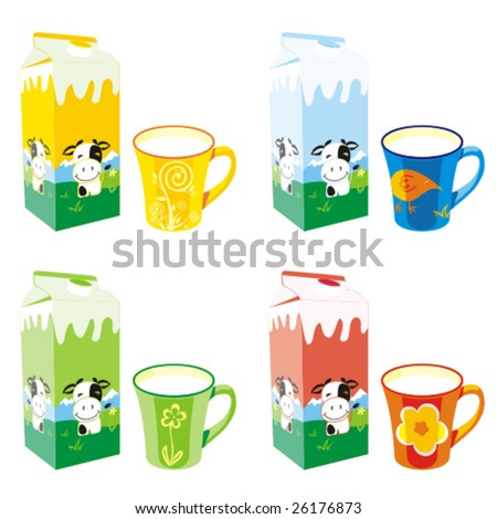 isolated milk carton boxes and colored mugs