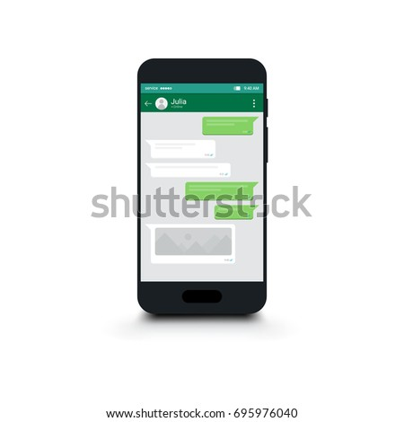 Isolated Mobile phone with chat message on screen. Social network - Chatting and Messaging concept