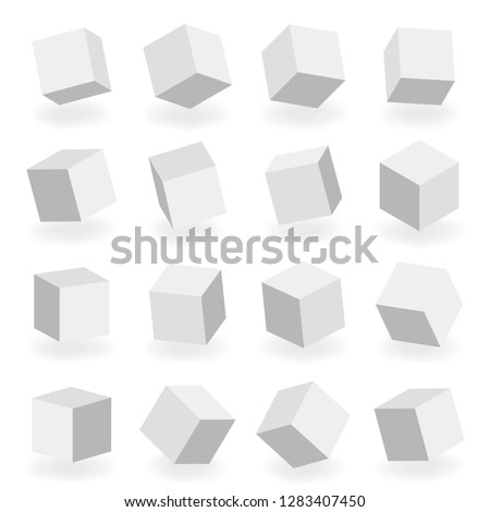 Isolated modeling 3d square blocks isometric design vector illustration #1283407450