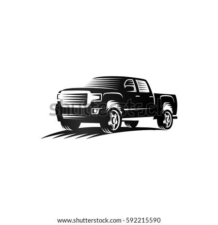 Isolated monochrome engraving style pickup trucks logo, cars logotype, black color automotive vehicle vector illustration.