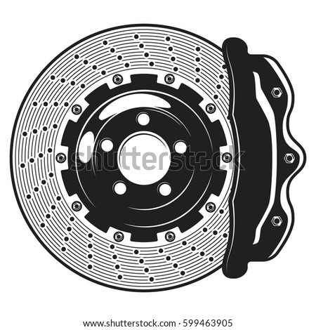 Isolated monochrome illustration of car brakes disk on white background