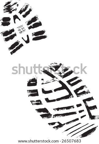 Isolated Mountain BootPrint - Highly detailed vector of a mountain boot- transparent vector so it can be overlaid onto other graphic elements