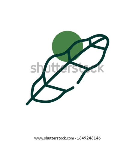 isolated natural leaf half line