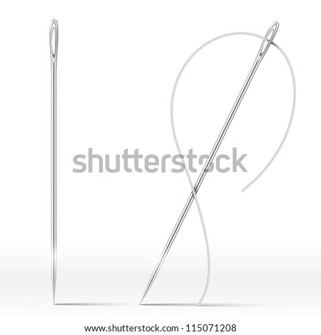 Isolated Needle and thread isolated on white. Vector Illustration - stock vector