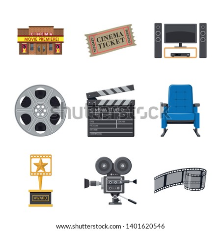 Isolated object of cinema  and theater logo. Collection of cinema  and entertainment stock symbol for web.