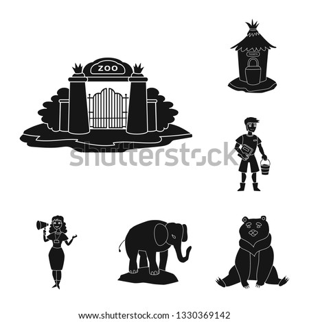 Isolated object of fauna and entertainment logo. Collection of fauna and park vector icon for stock.
