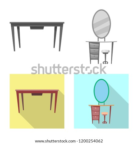 Isolated object of furniture and apartment icon. Collection of furniture and home vector icon for stock.